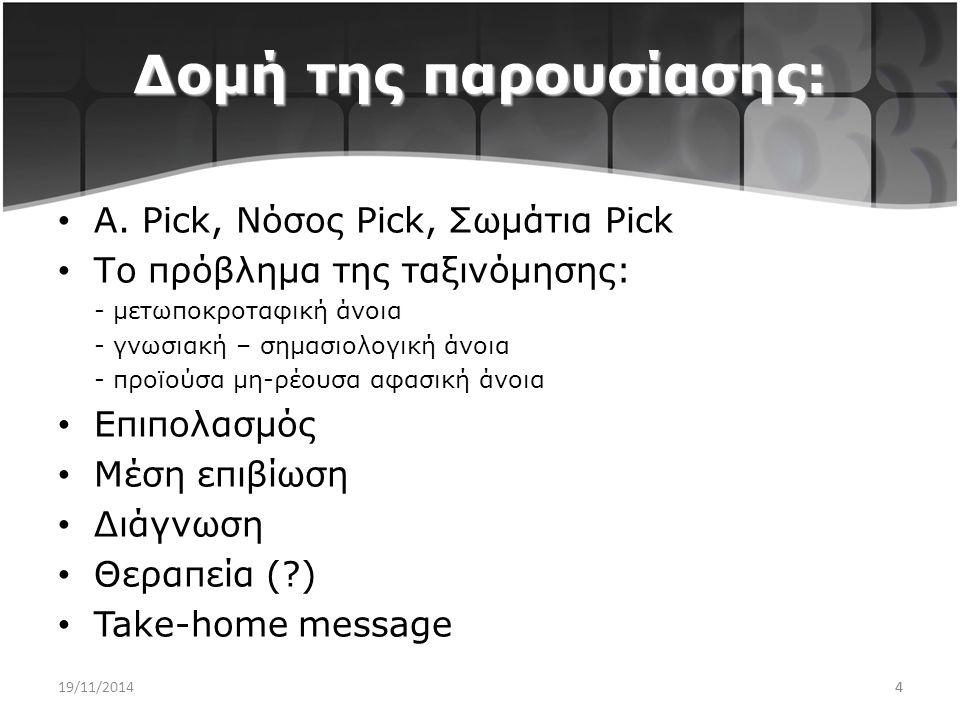 Δομή της παρουσίασης: Α. Pick, Νόσος Pick, Σωμάτια Pick