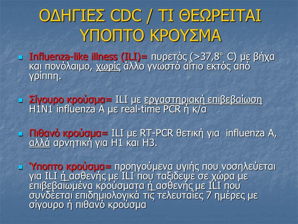 ΟΔΗΓΙΕΣ CDC / ΤΙ ΘΕΩΡΕΙΤΑΙ ΥΠΟΠΤΟ ΚΡΟΥΣΜΑ