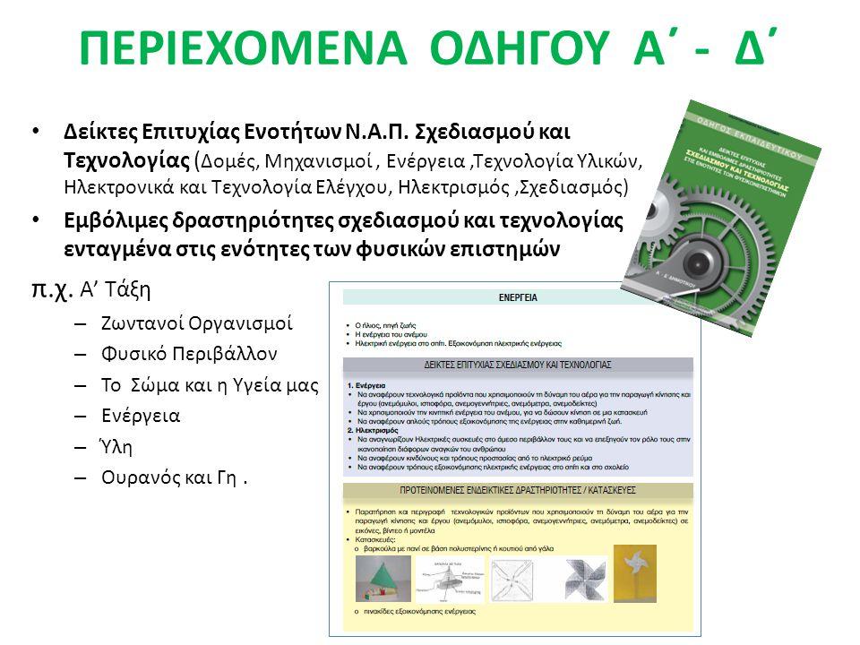 ΠΕΡΙΕΧΟΜΕΝΑ ΟΔΗΓΟΥ Α΄ - Δ΄