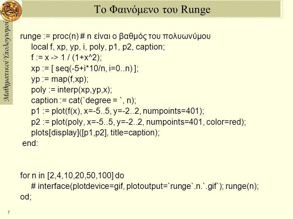 Το Φαινόμενο του Runge runge := proc(n) # n είναι ο βαθμός του πολυωνύμου. local f, xp, yp, i, poly, p1, p2, caption;