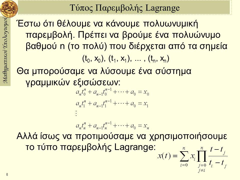 Τύπος Παρεμβολής Lagrange