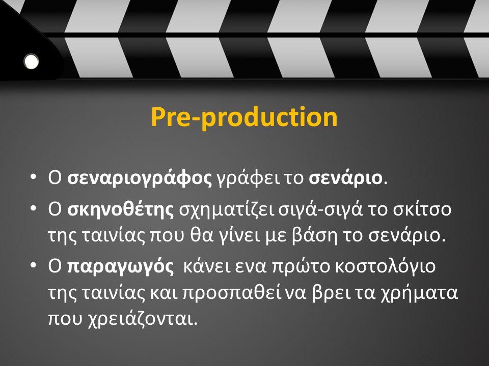 Pre-production Ο σεναριογράφος γράφει το σενάριο.