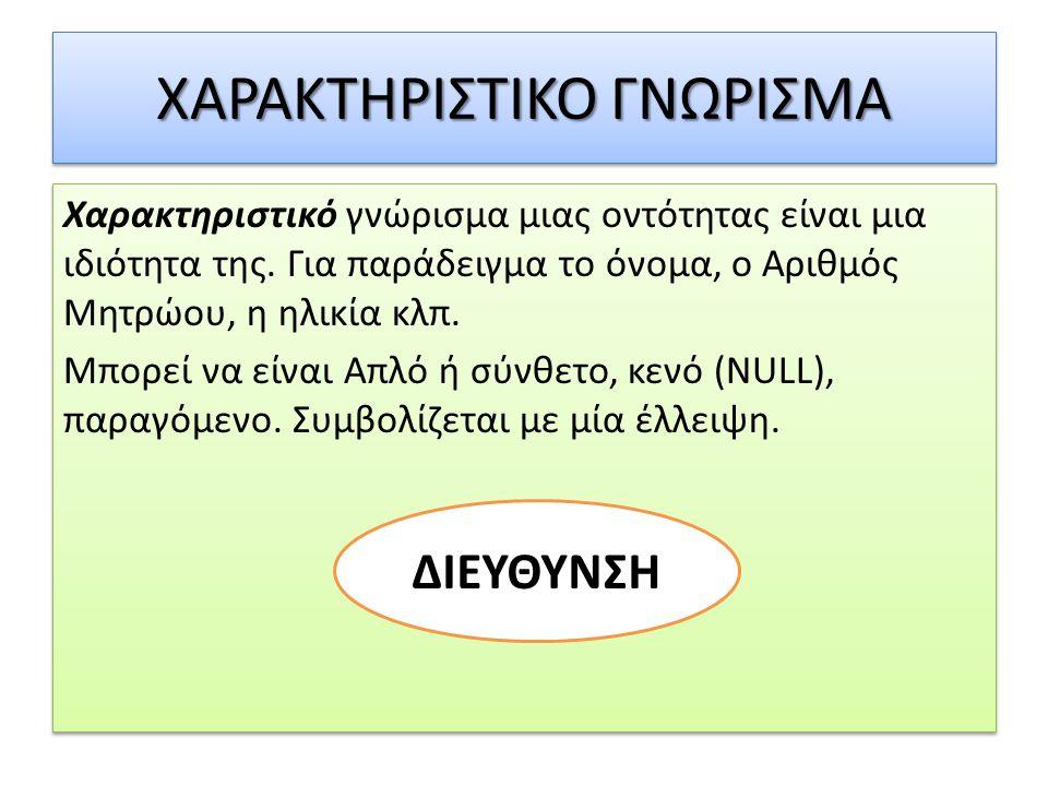 ΧΑΡΑΚΤΗΡΙΣΤΙΚΟ ΓΝΩΡΙΣΜΑ