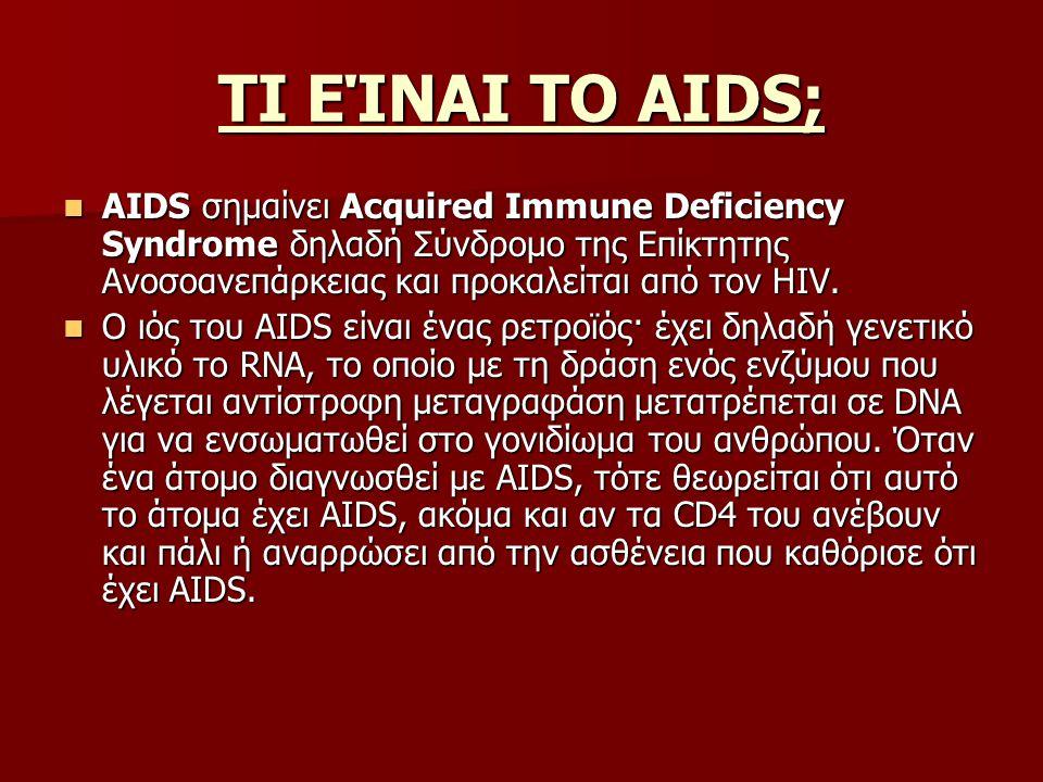ΤΙ ΕΊΝΑΙ ΤΟ ΑΙDS; AIDS σημαίνει Acquired Immune Deficiency Syndrome δηλαδή Σύνδρομο της Επίκτητης Ανοσοανεπάρκειας και προκαλείται από τον HIV.