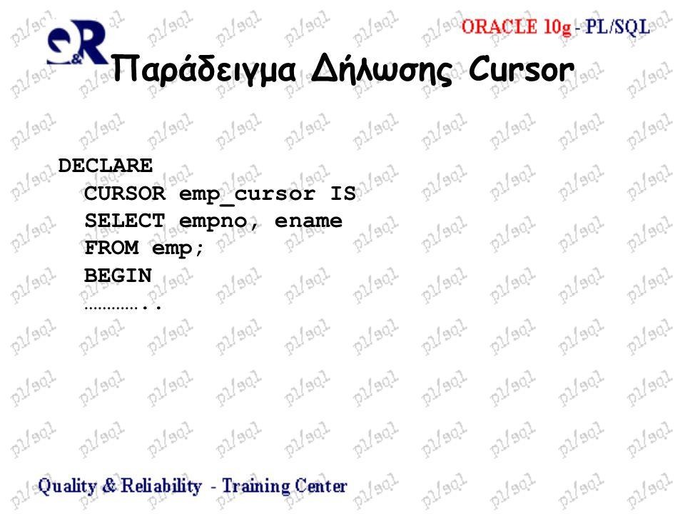 Παράδειγμα Δήλωσης Cursor