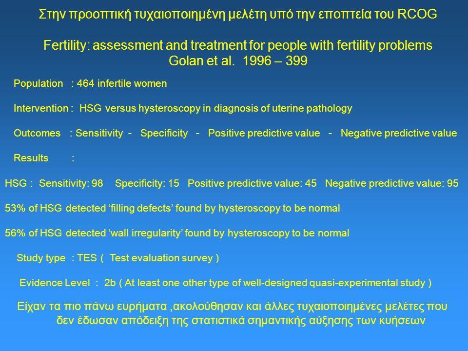 Στην προοπτική τυχαιοποιημένη μελέτη υπό την εποπτεία του RCOG Fertility: assessment and treatment for people with fertility problems Golan et al. 1996 – 399