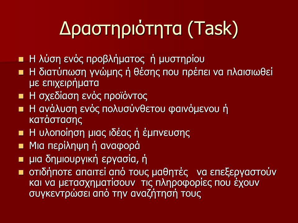 Δραστηριότητα (Task) Η λύση ενός προβλήματος ή μυστηρίου