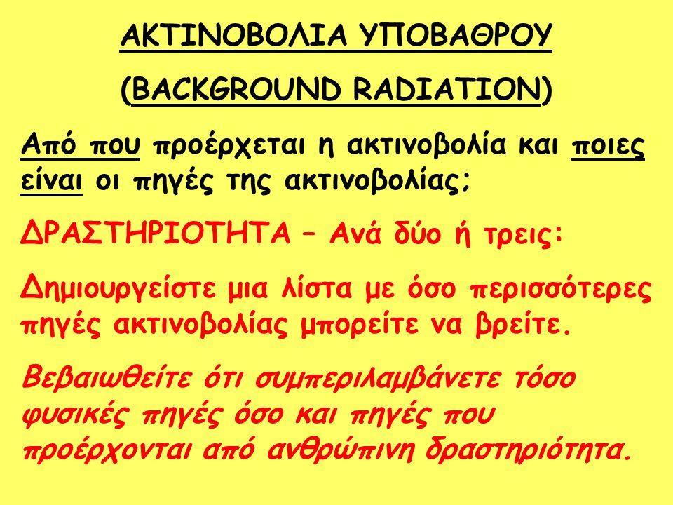 ΑΚΤΙΝΟΒΟΛΙΑ ΥΠΟΒΑΘΡΟΥ (BACKGROUND RADIATION)