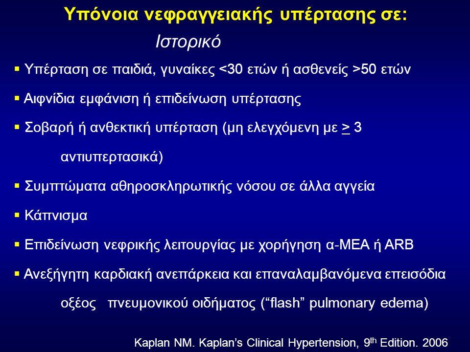 Υπόνοια νεφραγγειακής υπέρτασης σε: