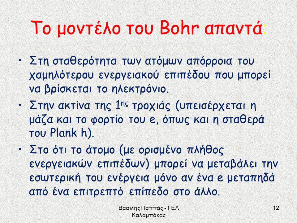 Το μοντέλο του Bohr απαντά: