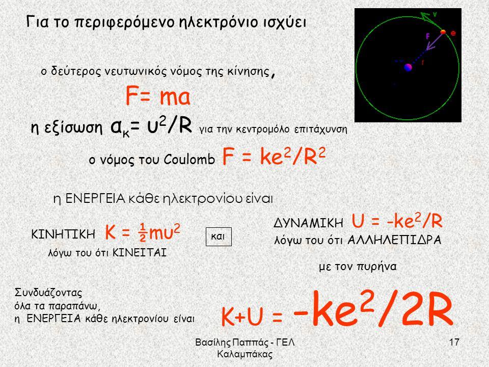 F= ma Κ+U = -ke2/2R Για το περιφερόμενο ηλεκτρόνιο ισχύει