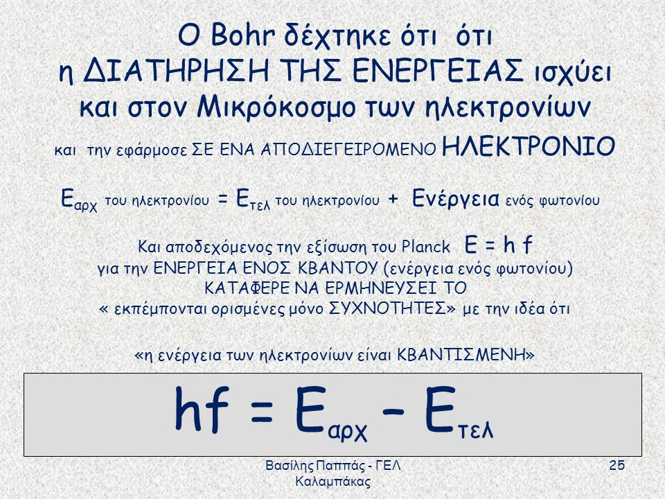 hf = Eαρχ – Ετελ Ο Bohr δέχτηκε ότι ότι