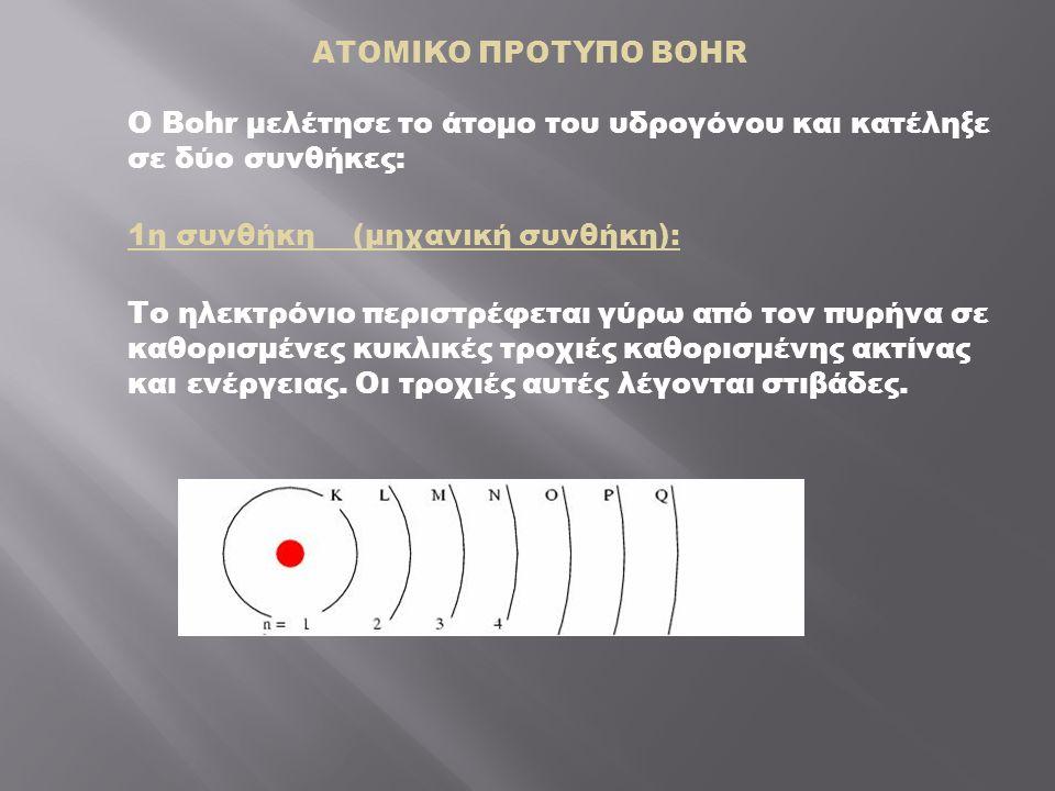 ΑΤΟΜΙΚΟ ΠΡΟΤΥΠΟ BOHR Ο Bohr μελέτησε το άτομο του υδρογόνου και κατέληξε σε δύο συνθήκες: 1η συνθήκη (μηχανική συνθήκη): Το ηλεκτρόνιο περιστρέφεται γύρω από τον πυρήνα σε καθορισμένες κυκλικές τροχιές καθορισμένης ακτίνας και ενέργειας.