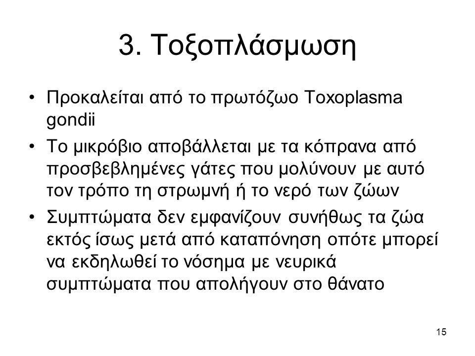3. Τοξοπλάσμωση Προκαλείται από το πρωτόζωο Toxoplasma gondii