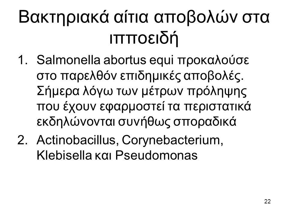 Βακτηριακά αίτια αποβολών στα ιπποειδή