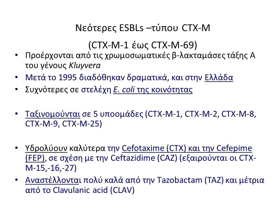 Νεότερες ESBLs –τύπου CTX-M (CTX-M-1 έως CTX-M-69)