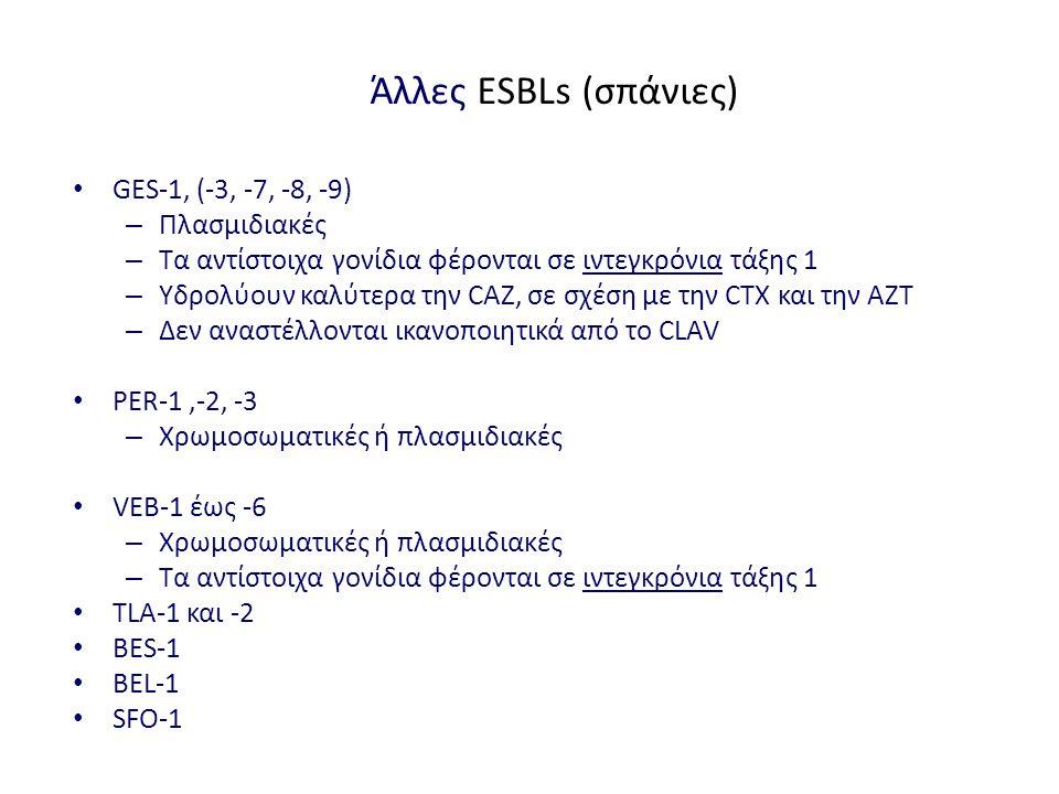 Άλλες ESBLs (σπάνιες) GES-1, (-3, -7, -8, -9) Πλασμιδιακές