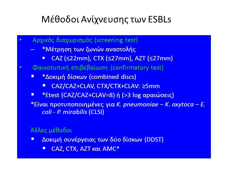 Μέθοδοι Ανίχνευσης των ESBLs