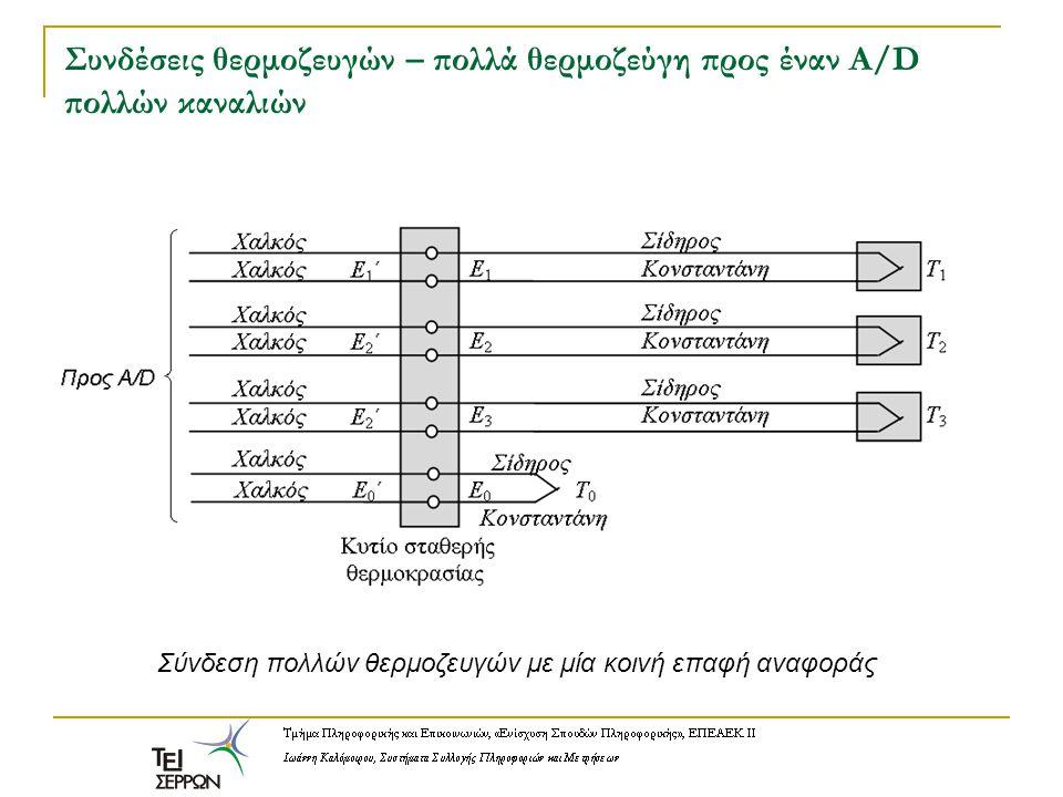 Συνδέσεις θερμοζευγών – πολλά θερμοζεύγη προς έναν A/D πολλών καναλιών