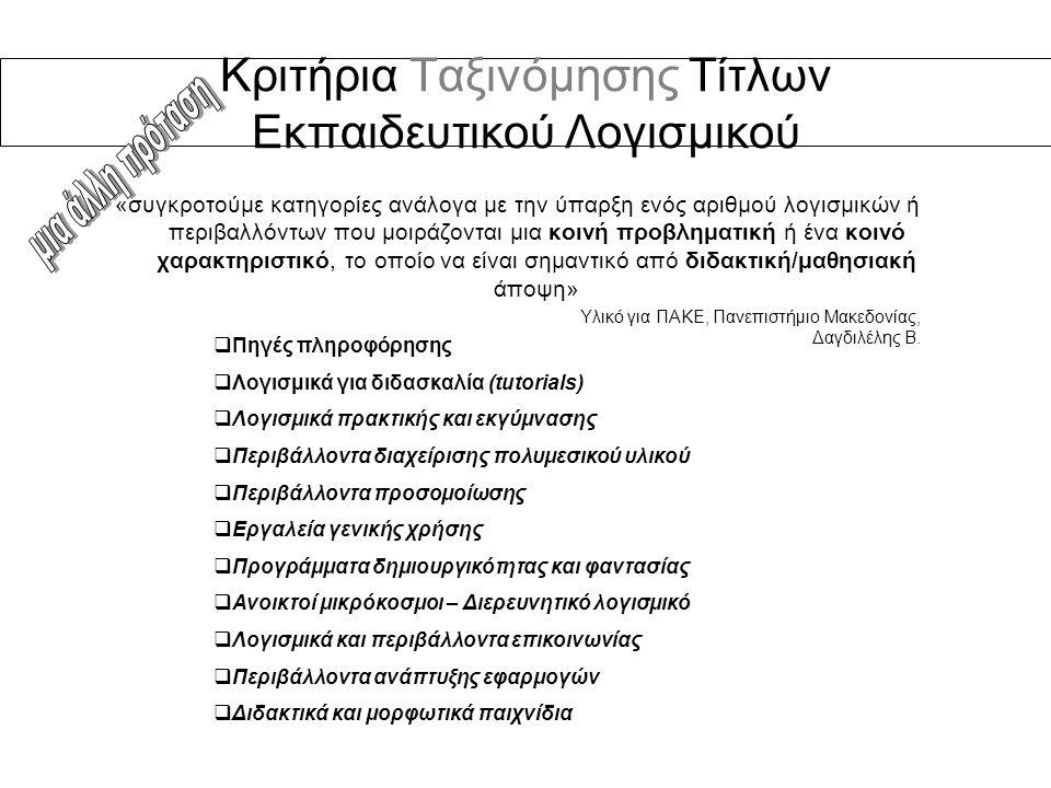 Κριτήρια Ταξινόμησης Τίτλων Εκπαιδευτικού Λογισμικού