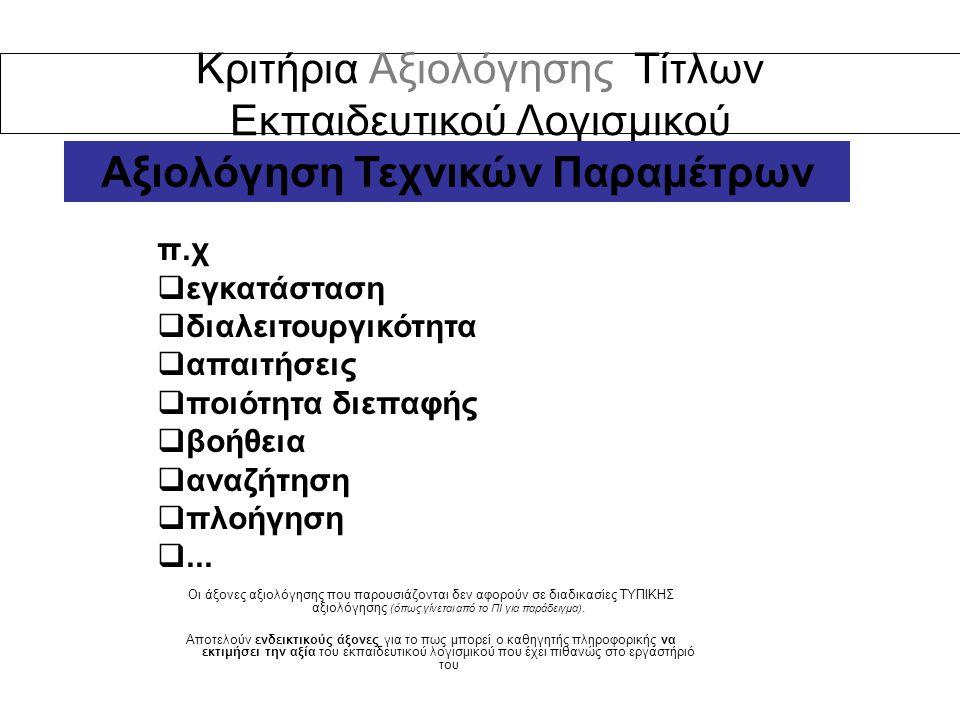 Κριτήρια Αξιολόγησης Τίτλων Εκπαιδευτικού Λογισμικού