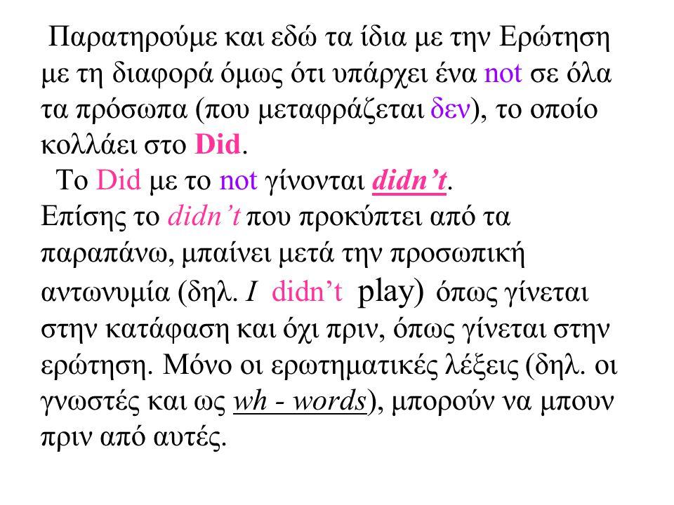Παρατηρούμε και εδώ τα ίδια με την Ερώτηση με τη διαφορά όμως ότι υπάρχει ένα not σε όλα τα πρόσωπα (που μεταφράζεται δεν), το οποίο κολλάει στο Did.