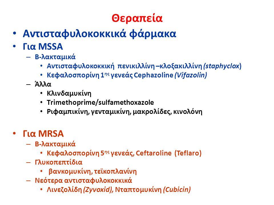 Θεραπεία Αντισταφυλοκοκκικά φάρμακα Για MSSA Για MRSA Β-λακταμικά