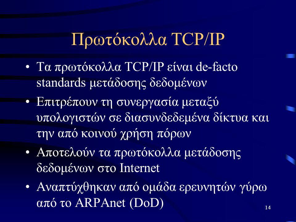 Πρωτόκολλα TCP/IP Τα πρωτόκολλα TCP/IP είναι de-facto standards μετάδοσης δεδομένων.