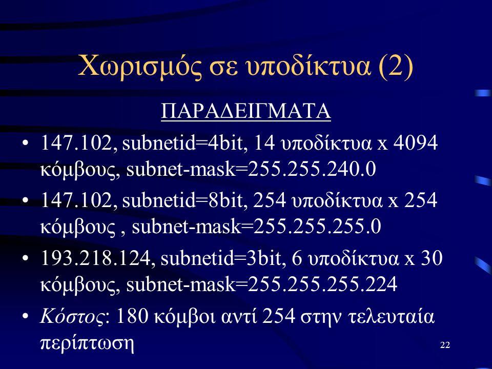 Χωρισμός σε υποδίκτυα (2)