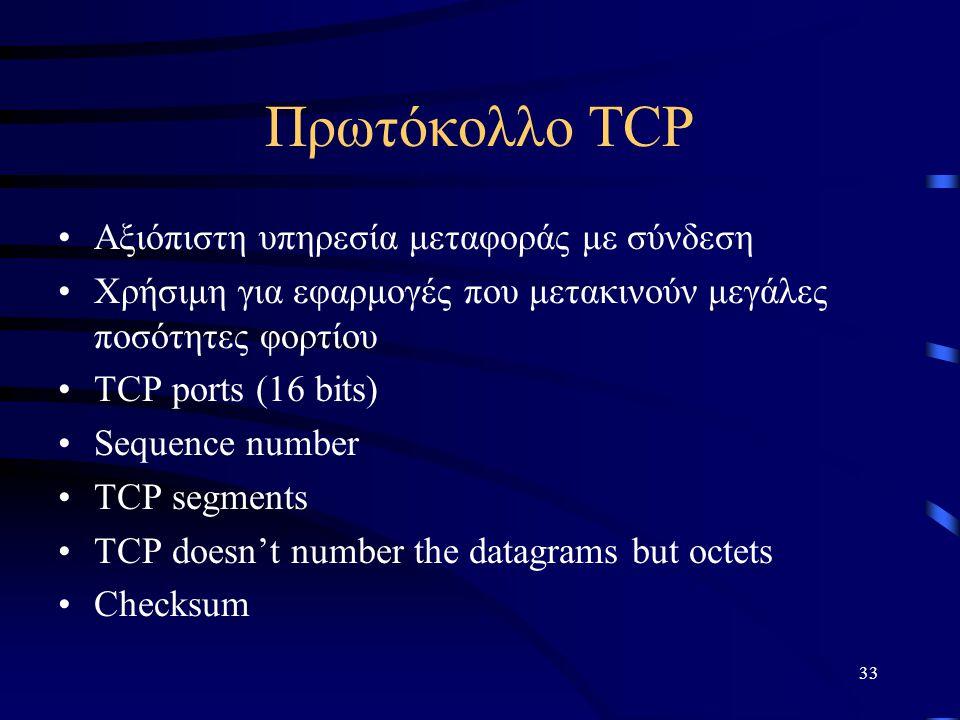 Πρωτόκολλο TCP Αξιόπιστη υπηρεσία μεταφοράς με σύνδεση