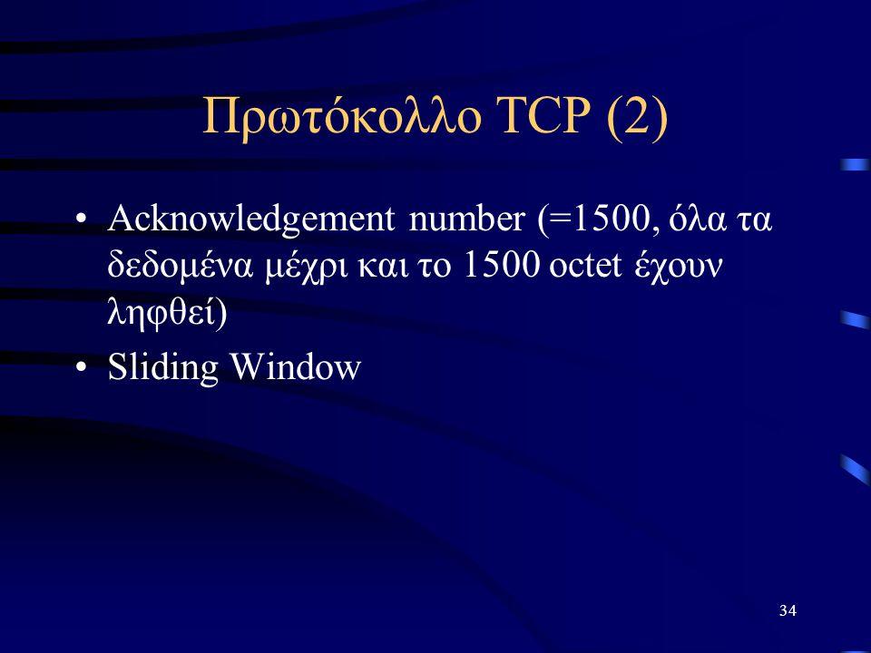 Πρωτόκολλο TCP (2) Acknowledgement number (=1500, όλα τα δεδομένα μέχρι και το 1500 octet έχουν ληφθεί)