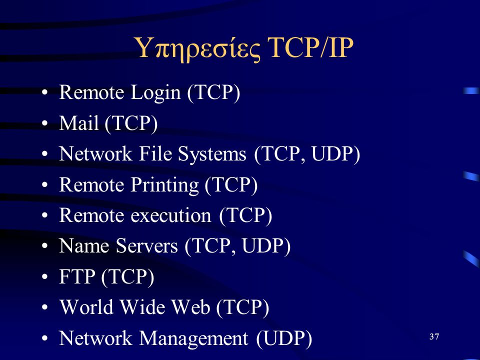 Υπηρεσίες TCP/IP Remote Login (TCP) Mail (TCP)