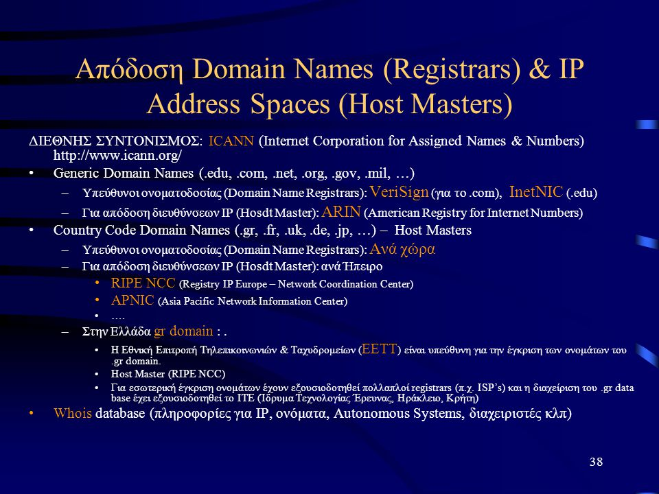 Απόδοση Domain Names (Registrars) & IP Address Spaces (Host Masters)