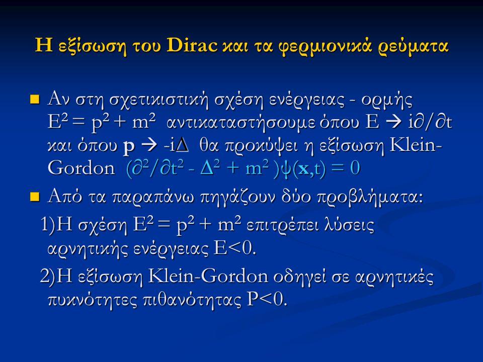 Η εξίσωση του Dirac και τα φερμιονικά ρεύματα