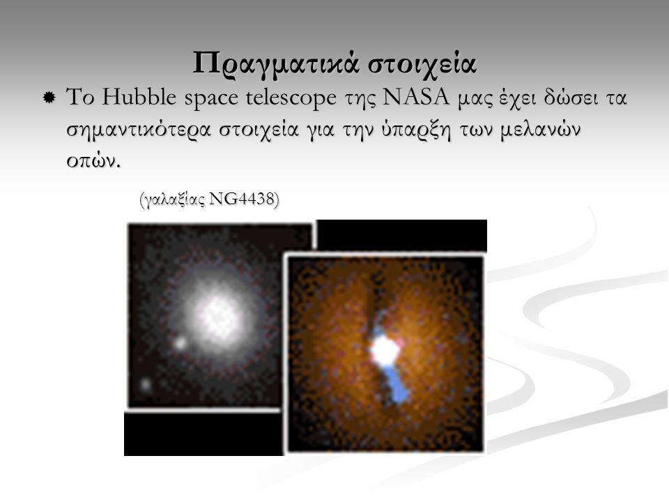 Πραγματικά στοιχεία Το Hubble space telescope της ΝASA μας έχει δώσει τα σημαντικότερα στοιχεία για την ύπαρξη των μελανών οπών.