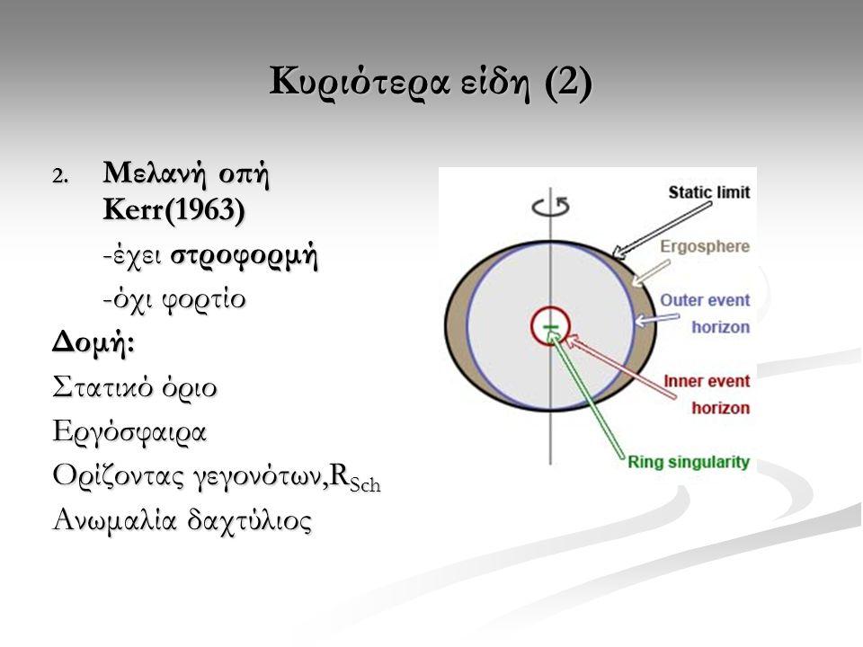 Κυριότερα είδη (2) Μελανή οπή Kerr(1963) -έχει στροφορμή -όχι φορτίο