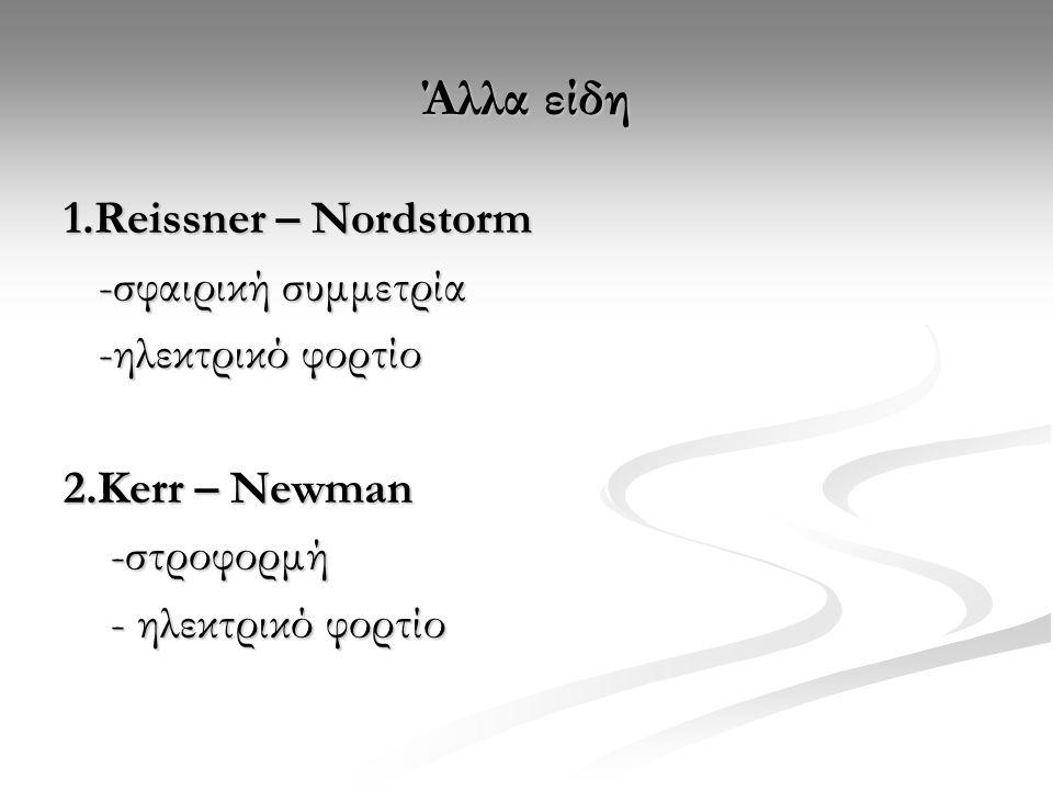Άλλα είδη 1.Reissner – Nordstorm -σφαιρική συμμετρία -ηλεκτρικό φορτίο
