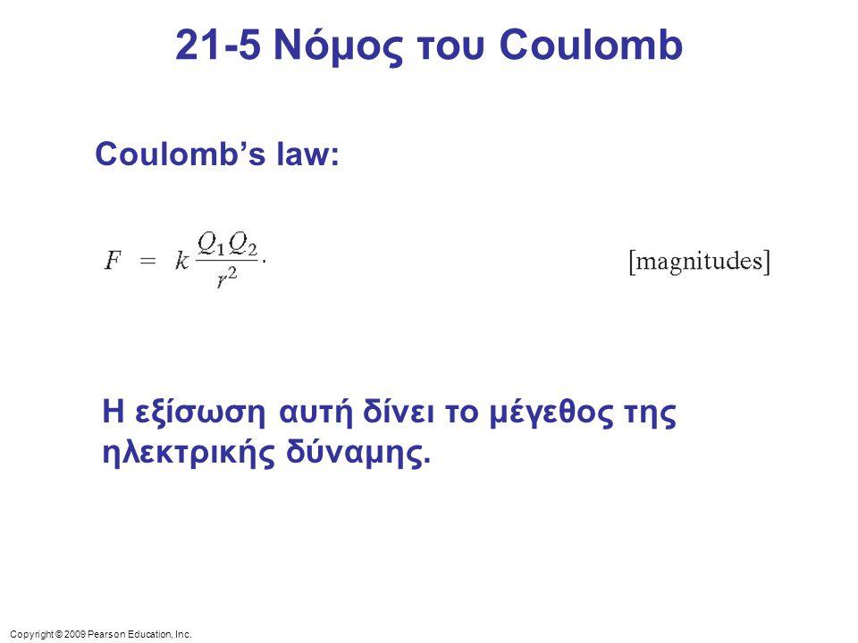 21-5 Νόμος του Coulomb Coulomb's law: