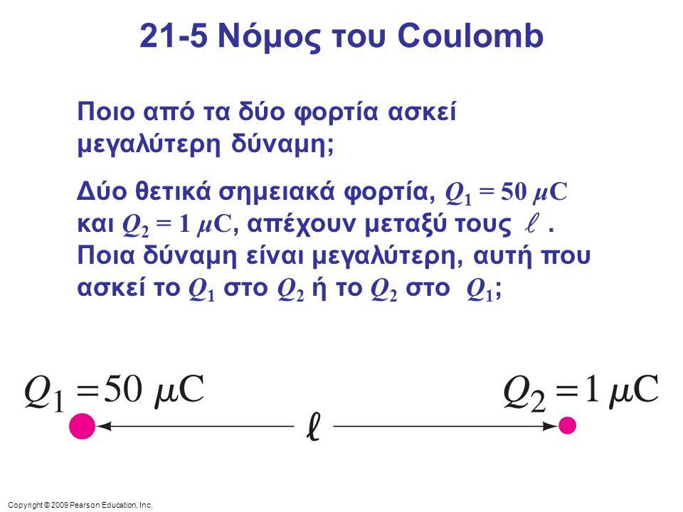 21-5 Νόμος του Coulomb Ποιο από τα δύο φορτία ασκεί μεγαλύτερη δύναμη;
