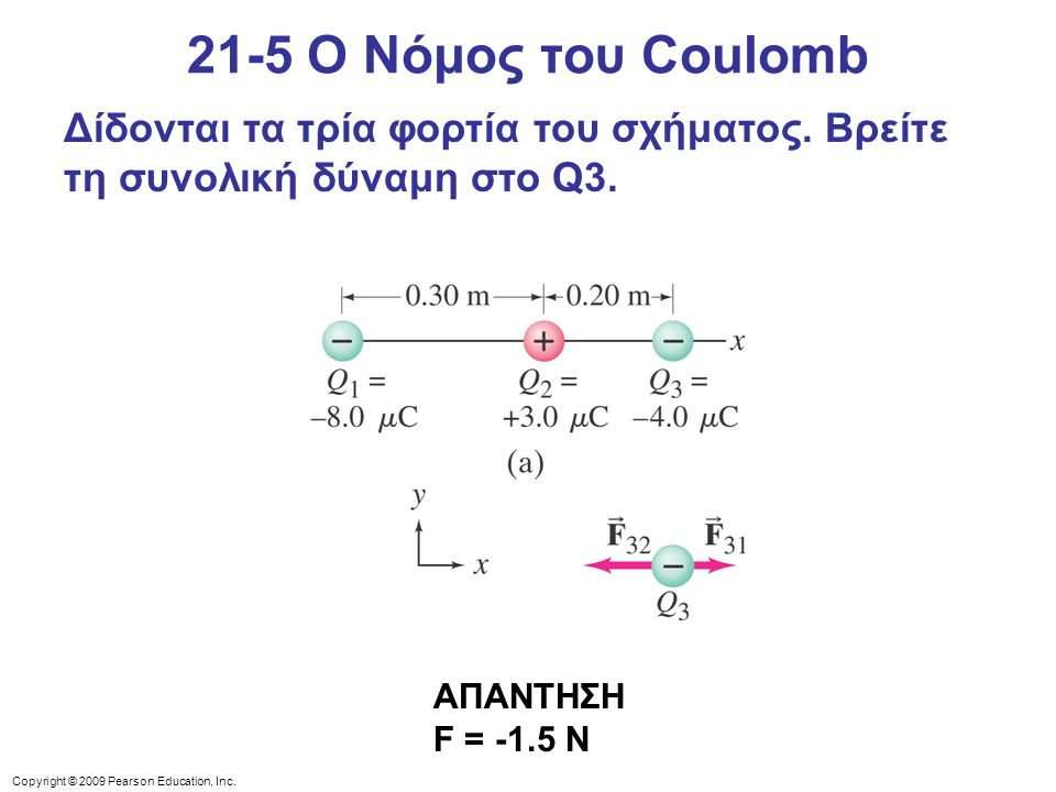 21-5 Ο Νόμος του Coulomb Δίδονται τα τρία φορτία του σχήματος. Βρείτε τη συνολική δύναμη στο Q3.