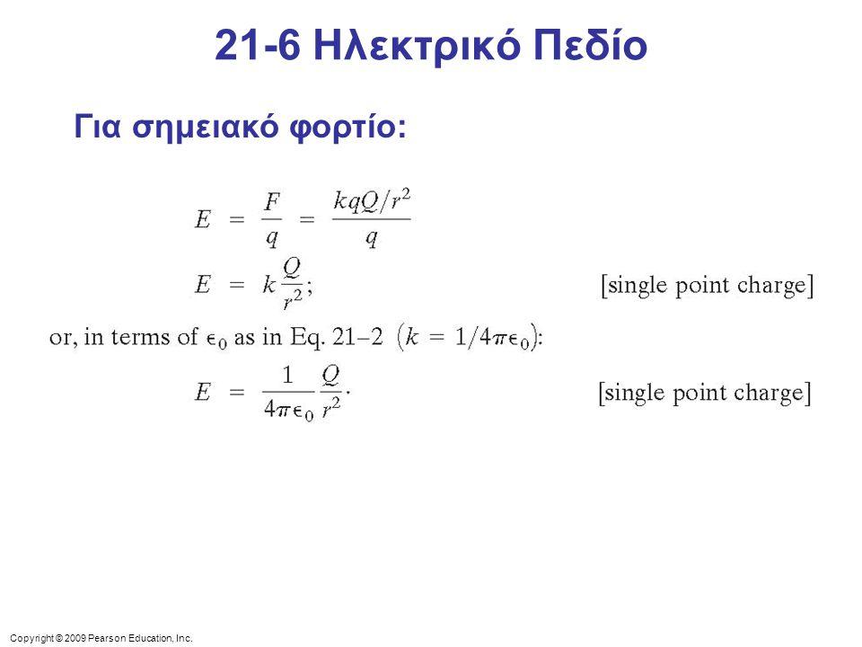 21-6 Ηλεκτρικό Πεδίο Για σημειακό φορτίο: