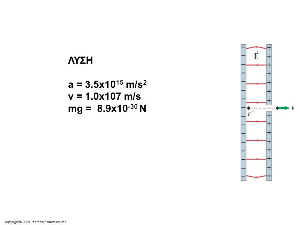 ΛΥΣΗ a = 3.5x1015 m/s2 v = 1.0x107 m/s mg = 8.9x10-30 N