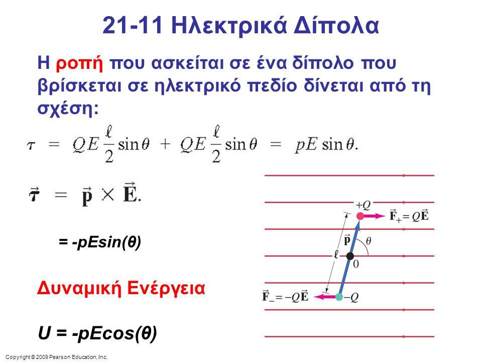 21-11 Ηλεκτρικά Δίπολα Η ροπή που ασκείται σε ένα δίπολο που βρίσκεται σε ηλεκτρικό πεδίο δίνεται από τη σχέση: