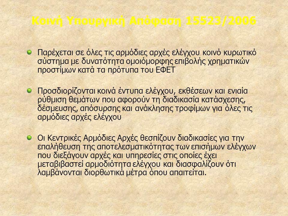 Κοινή Υπουργική Απόφαση 15523/2006