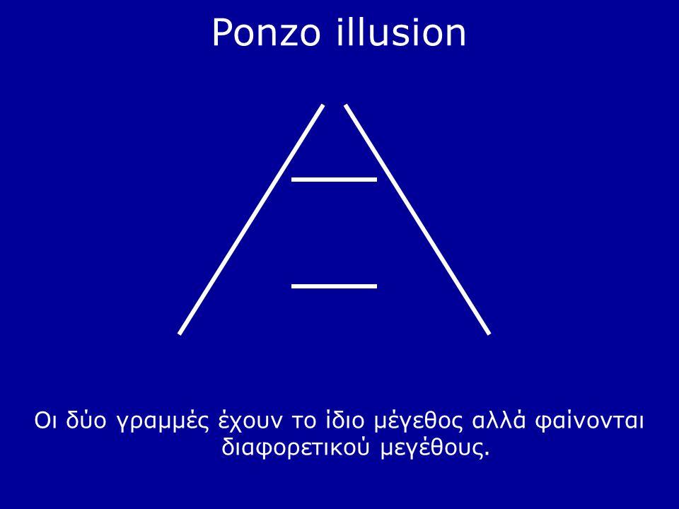 Ponzo illusion Οι δύο γραμμές έχουν το ίδιο μέγεθος αλλά φαίνονται διαφορετικού μεγέθους.