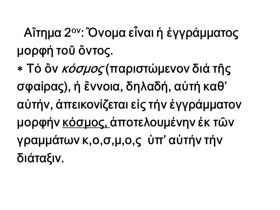 Αἲτημα 2ον: Ὂνομα εἶναι ἡ ἐγγράμματος