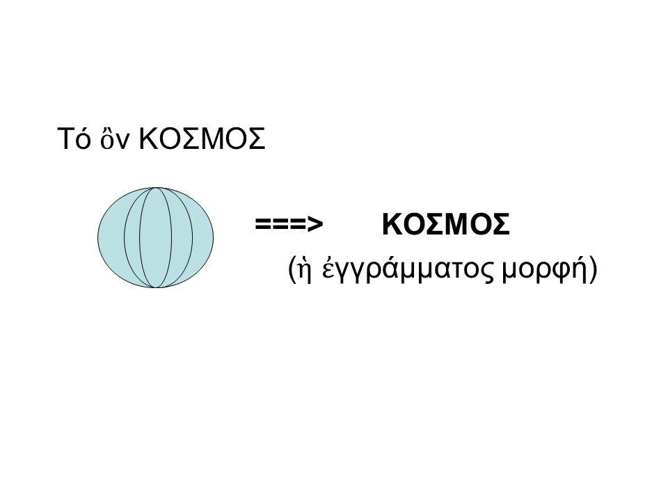 Τό ὂν ΚΟΣΜΟΣ ===> ΚΟΣΜΟΣ (ἡ ἐγγράμματος μορφή)