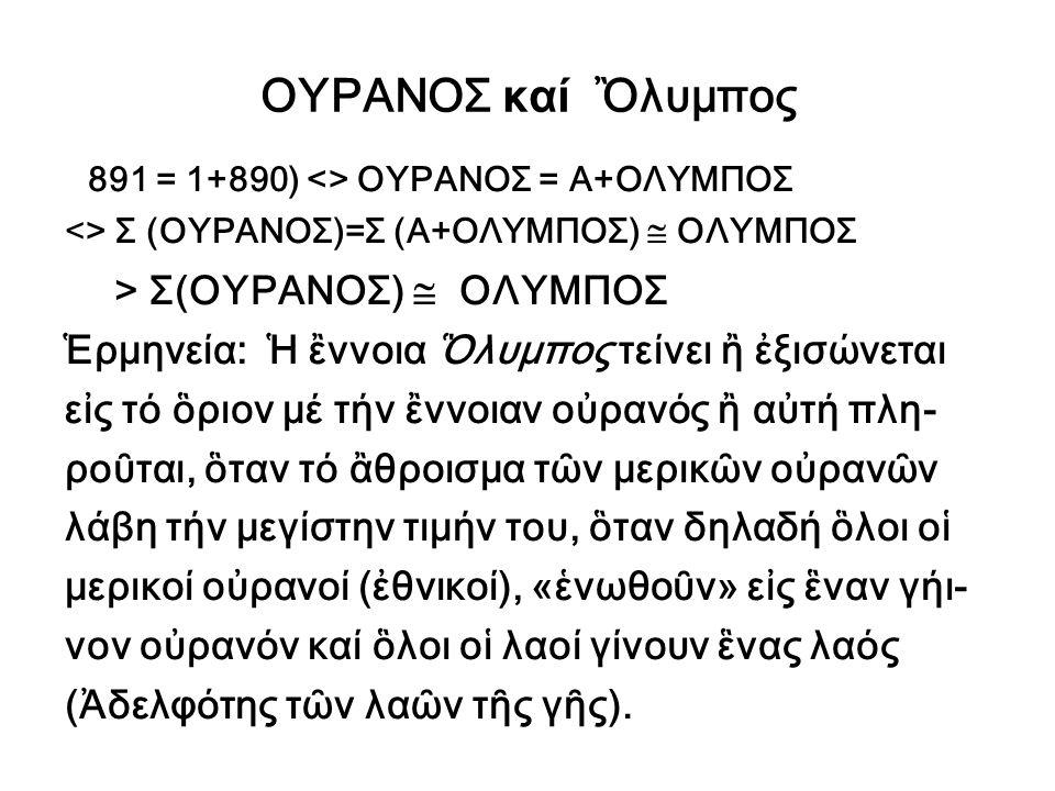 ΟΥΡΑΝΟΣ καί Ὂλυμπος > Σ(ΟΥΡΑΝΟΣ)  ΟΛΥΜΠΟΣ