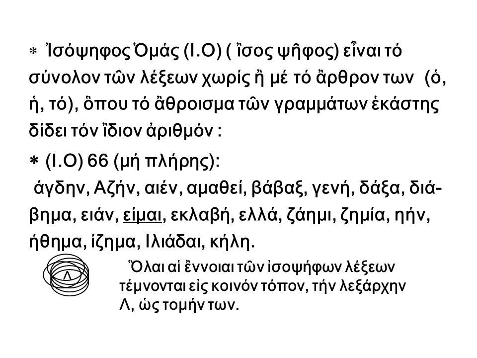  (Ι.Ο) 66 (μή πλήρης): Ἰσόψηφος Ὁμάς (Ι.Ο) ( ἲσος ψῆφος) εἶναι τό