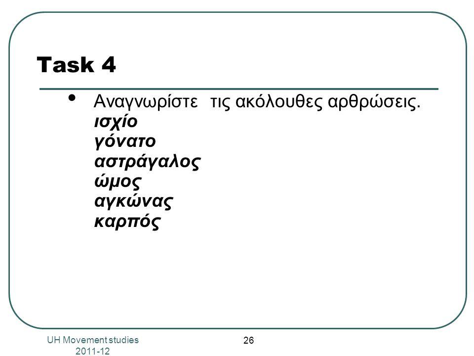 Task 4 Αναγνωρίστε τις ακόλουθες αρθρώσεις. ισχίο γόνατο αστράγαλος ώμος αγκώνας καρπός.